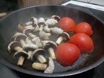 Rå organiska champinjoner och tomater Royaltyfri Foto
