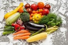 Rå organiska grönsaker med nya ingredienser för healthily att laga mat på konkret bakgrund, bästa sikt, baner Strikt vegetarian e Arkivfoton