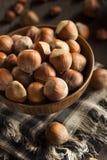 Rå organiska hela hasselnötter Arkivbild