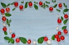 Rå organiska ingredienser för caprese sallad eller sund vegetarian bantar maträtten Körsbärsröda tomater, nya basilikasidor, vitl fotografering för bildbyråer