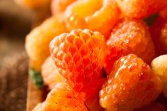 Rå organiska orange solskenhallon royaltyfria bilder