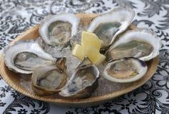 Rå ostron och en littleneckmussla med citronen Royaltyfri Fotografi