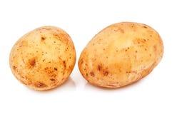 Rå potatis två på vit arkivbilder