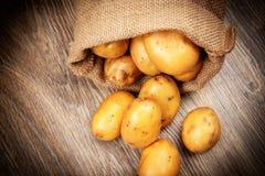 Rå potatisar i säcken Fotografering för Bildbyråer