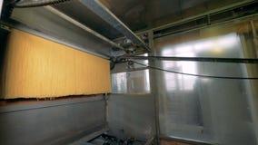 Rå spagetti är rörande på en transportör i en pastafabrik arkivfilmer