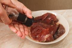 rå steak för nötkött Arkivfoto