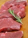 Rå utan ben biffar för lammbenkött Arkivbilder