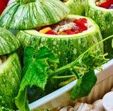 Rå zucchinier med stoppning Royaltyfri Bild