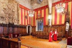 Råd av hundra i stadshus i Barcelona Royaltyfri Foto