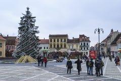 Råd fyrkantiga Brasov, Rumänien Arkivbild