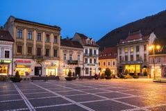 Rådfyrkant, Brasov, Rumänien Fotografering för Bildbyråer