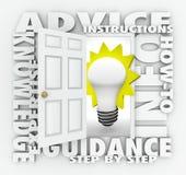 Rådgivninganvisningar Hur-till idéer för öppning för dörr för informationsord Royaltyfri Bild