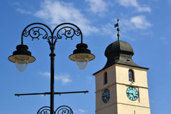 Rådtorn (turnulsfatuluien), Sibiu Royaltyfri Bild