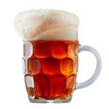 Råna av frostigt mörker - rött öl med skum royaltyfri bild