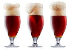 Råna av frostigt mörker - rött öl med skum arkivfoto