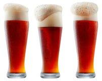 Råna av frostigt mörker - rött öl med skum fotografering för bildbyråer