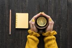 Råna av te med citronen i en kvinnlig hand, blyertspenna och notepad trä royaltyfria foton