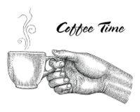Rånar hållande kaffe för handen, isolaten för illustrationtappningstil på wh royaltyfri illustrationer