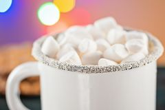 Rånar vitt kaffe för emalj koppen av den varma drinkdrycken för kakao med marshmallowen Arkivfoto