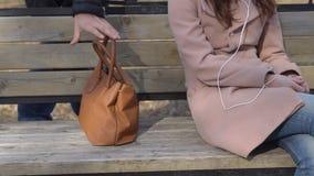 Rånaren bär påsen för kvinna` s av bänken i parkera arkivfilmer