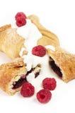 Rått hallon och smaklig kaka Royaltyfri Fotografi
