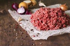 Rått jordkött med löken, vitlök, peppar Royaltyfria Foton