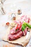 Rått kött med kryddan Royaltyfri Foto