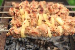 Rått kött och lökar på steknålar grillar på kol royaltyfri fotografi