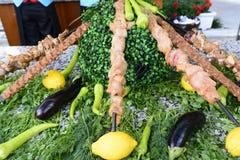 Rått kött på steknålar av grönsaker Royaltyfri Fotografi