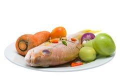 rått tropiskt för maträttfisk Royaltyfri Foto