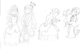 Rè queen prince and princess with crown, crab and fish breed,sketches and pencil sketches and doodles. Rè queen prince and princess with crown Royalty Free Stock Photos