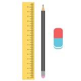 Règle, crayon et gomme Outils pour le retrait Photo stock