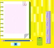 Règle d'outil d'étude d'illustration et de crayon de dessin photos stock
