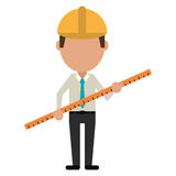 Règle de construction d'homme d'Architec grande illustration stock