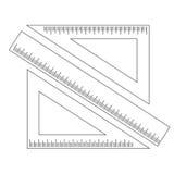 Règle de mesure et deux triangles avec une échelle Photographie stock