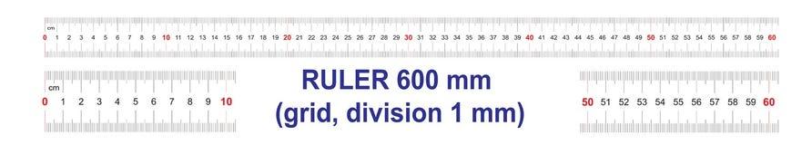 Règle de 600 millimètres Règle de 60 centimètres Grille de calibrage Division de valeur 1 millimètre Instrument de mesure bilatér
