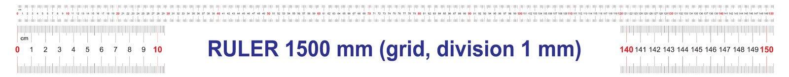 Règle de 1500 millimètres Règle de 150 centimètres Règle de 1,5 mètres Grille de calibrage Division de valeur 1 millimètre