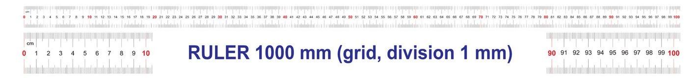 Règle de 1000 millimètres Règle de 100 centimètres Règle de 1 mètres Grille de calibrage Division de valeur 1 millimètre