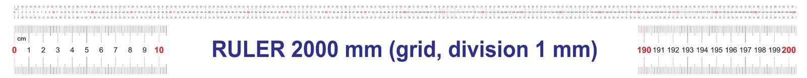 Règle de 2000 millimètres Règle de 200 centimètres Règle de 2 mètres Grille de calibrage Division de valeur 1 millimètre