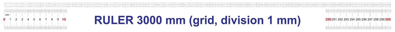 Règle de 3000 millimètres Règle de 300 centimètres Règle de 3 mètres Grille de calibrage Division de valeur 1 millimètre