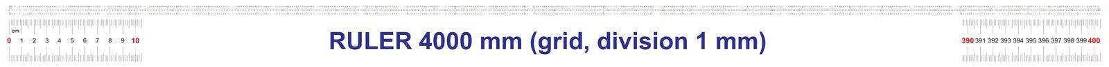 Règle de 4000 millimètres Règle de 400 centimètres Règle de 4 mètres Grille de calibrage Division de valeur 1 millimètre