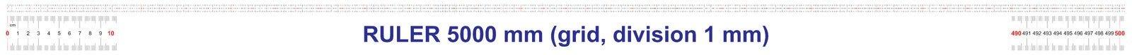 Règle de 5000 millimètres Règle de 500 centimètres Règle de 5 mètres Grille de calibrage Division de valeur 1 millimètre