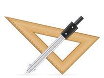 Règle de triangle et boussole de dessin Image libre de droits