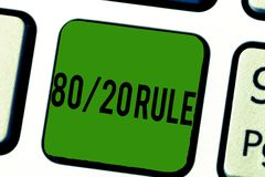 Règle 20 des textes 80 d'écriture Le concept signifiant le principe de Pareto des effets de 80 pour cent viennent de 20 causes illustration de vecteur