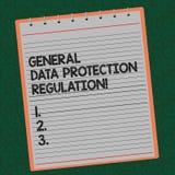 Règlement général de protection des données des textes d'écriture de Word Concept d'affaires pour protecteur de sécurité de média photos stock