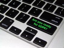 Règlement général GDPR - bouton de protection des données d'ordinateur portable image libre de droits