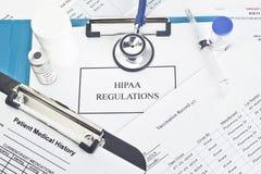 Règlements de HIPAA Image stock