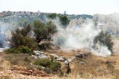 Règlements et feu de la Cisjordanie dans un domaine palestinien Images stock
