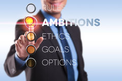 Règles, ambition, éthique, buts, options Photo libre de droits