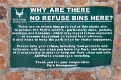 Règles d'élimination des déchets à l'aire de pique-nique de Weltevrede Image libre de droits